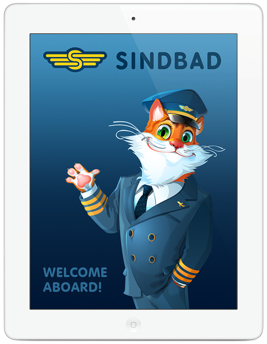 Welcome screen for iPad application Sindbad