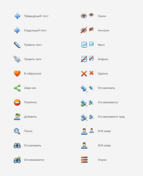 Иконки для интерфейса LiveJournal