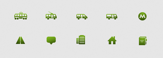 Icons for public transportation, objects and others 2GIS Mobile