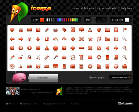 Iconza's interface